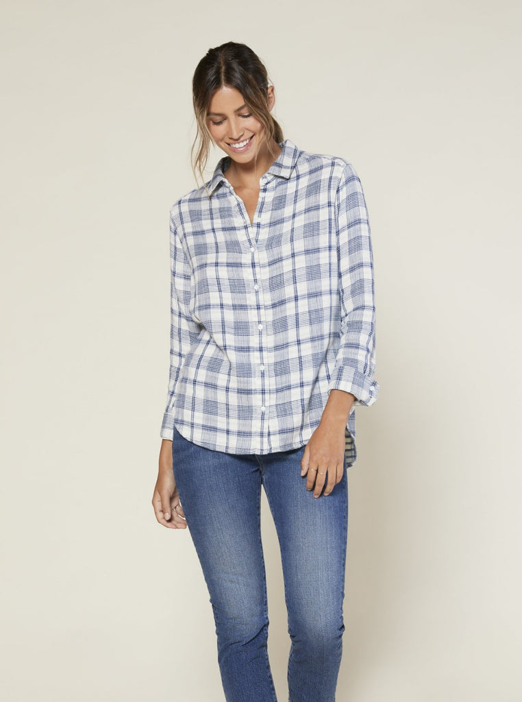 Outerknown Costa Double Weave Plaid Shirt Cobalt + White Plaid