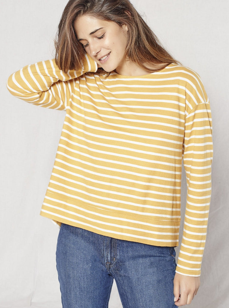 Outerknown La Mer Long Sleeve Stripe Tee Saffron