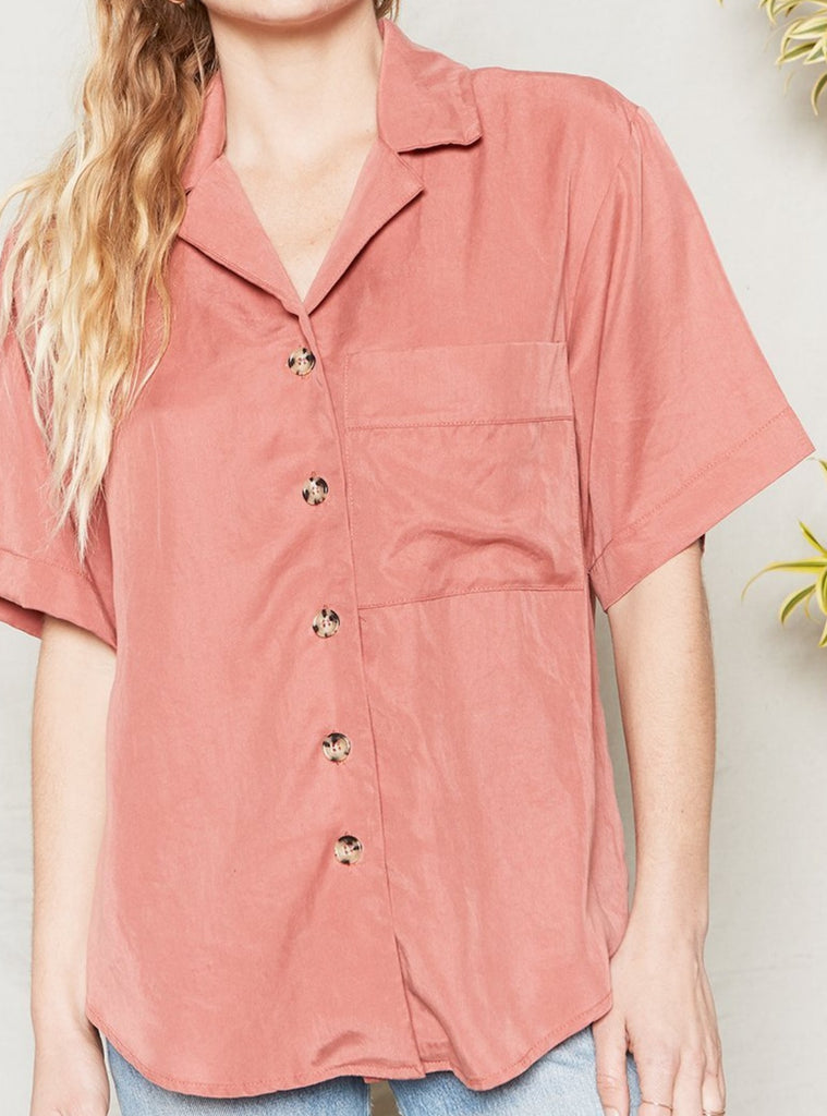 Back Beat Co Gia Tencel Button Down Top Desert Rose