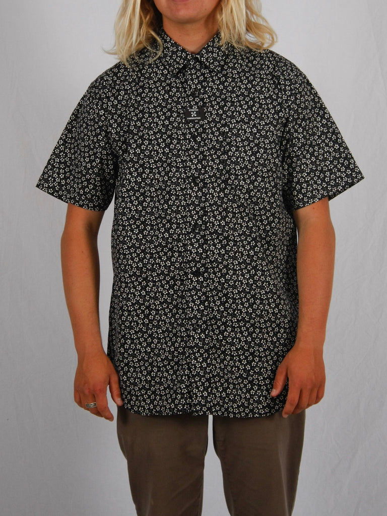 Berdels Happy Flower Short Sleeve Button Up Woven Shirt Black