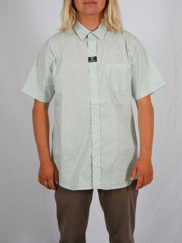 Berdels Happy Flower Short Sleeve Button Up Woven Shirt Mint