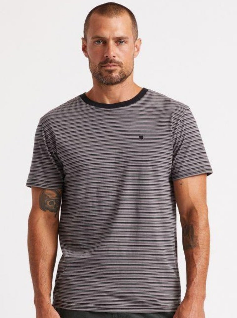 Brixton Hilt Mini Stripe S/S Knit Tee - Black