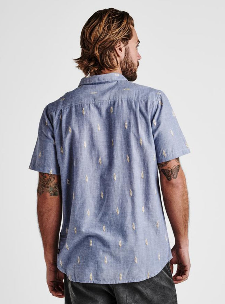 Roark Ikat Dobby Button Up Shirt Light Blue