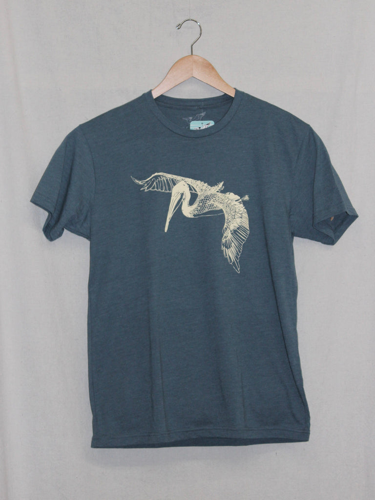 In Flight Pelican Tee Heather Indigo