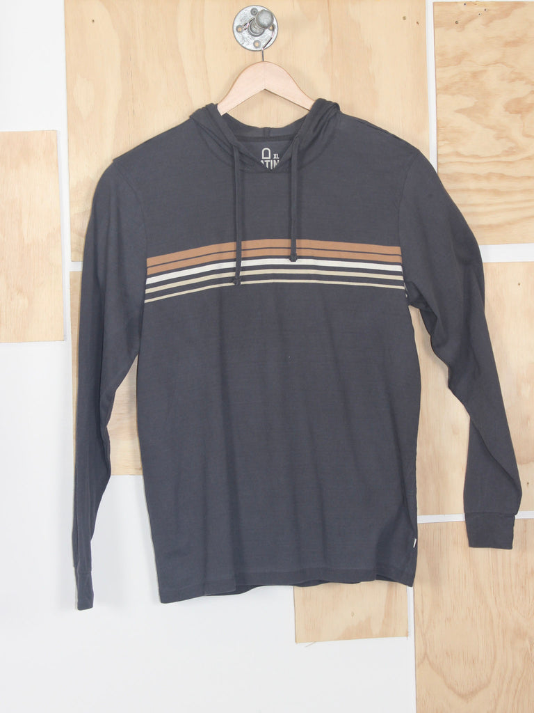 Katin Glenn Hooded Long Sleeve Grey with Stripes