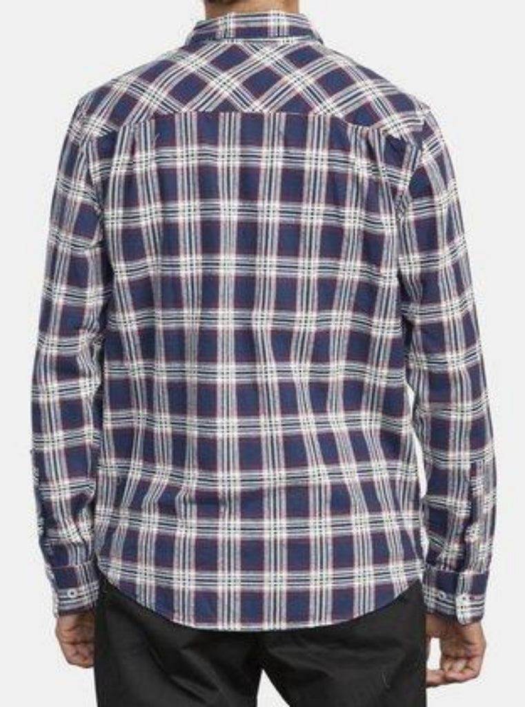 RVCA That'll Do Work Flannel Shirt Moody Blue
