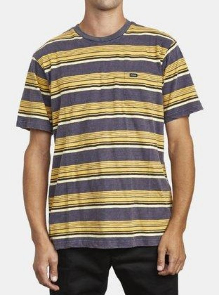 RVCA Ventura Stripe Short Sleeve Knit Tee Moody Blue