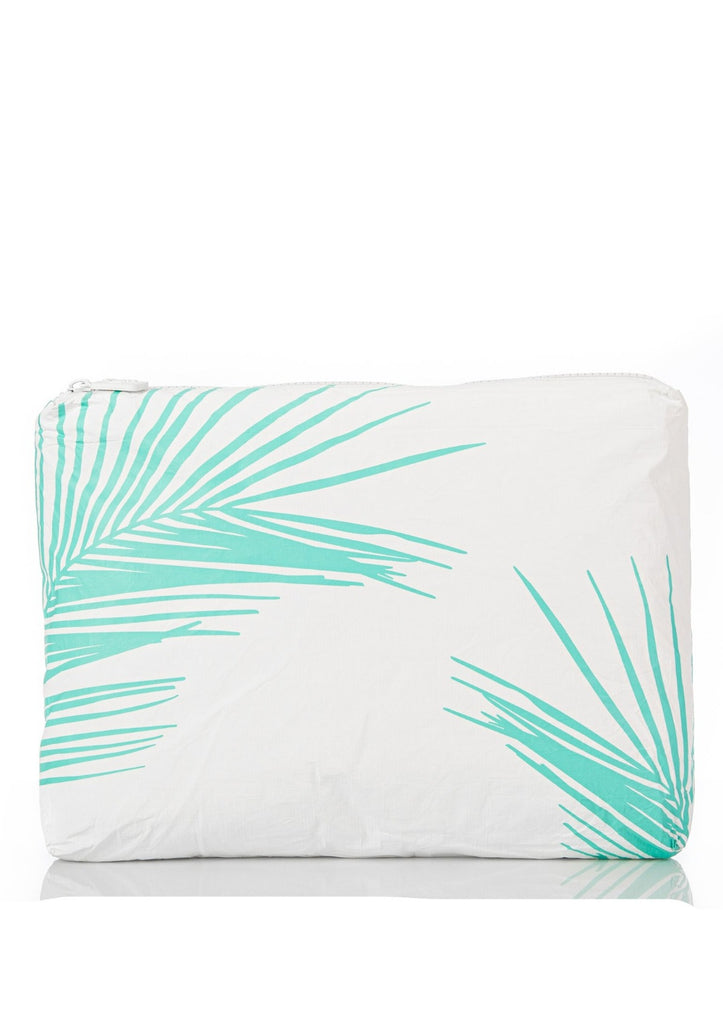 Aloha Collection Mid Size Pouch Fronds Neon Turquoise