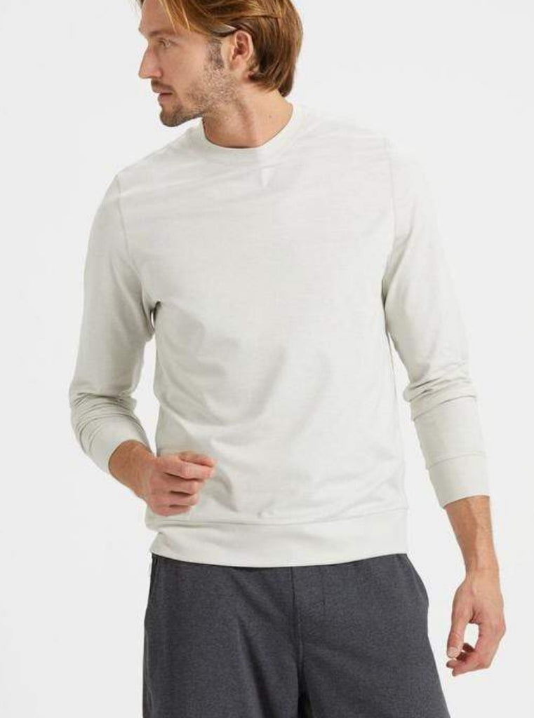 Vuori Ponto Performance Crewneck Sweatshirt Heather Dove Grey