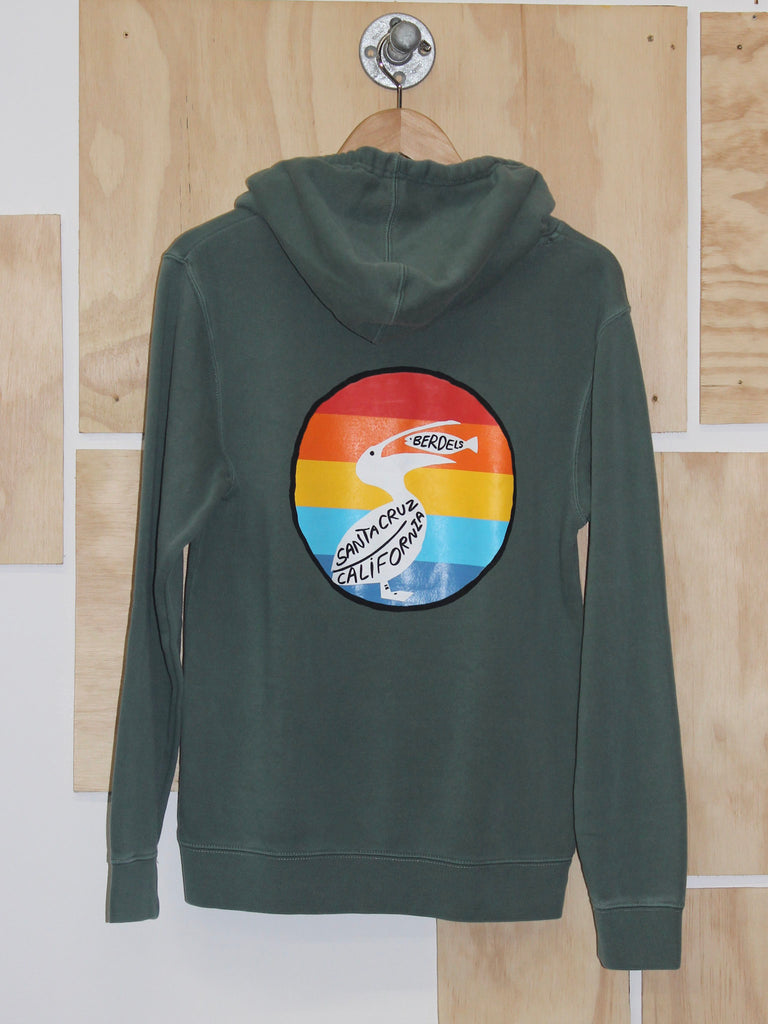 Rainbow Berd Hooded Pullover Sweatshirt Green