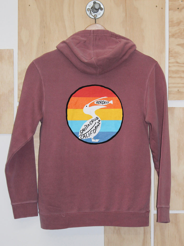 Rainbow Berd Hooded Pullover Sweatshirt Maroon