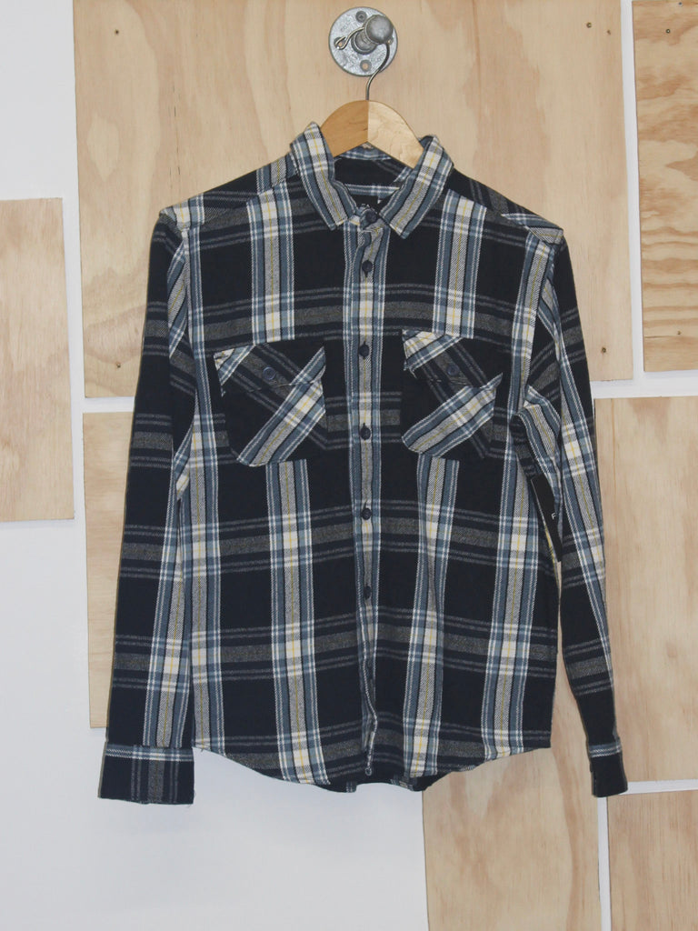 RVCA Reverberation Flannel Midnight Yellow