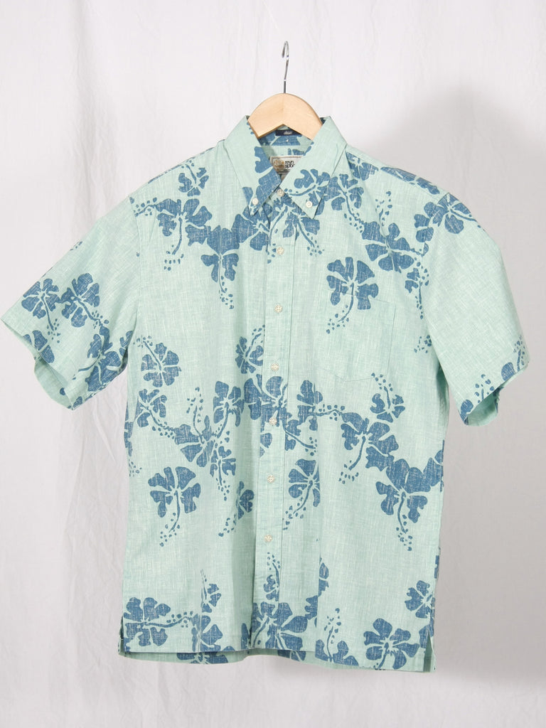 Reyn Spooner 50th State Button Up Shirt Turquoise