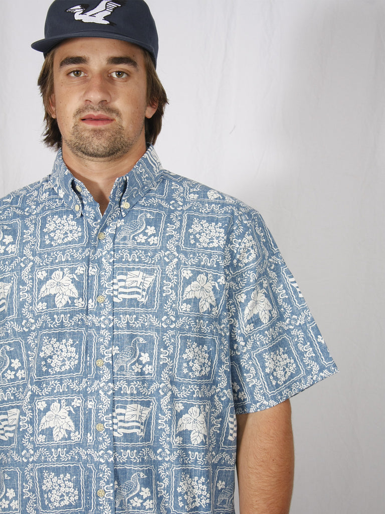 Reyn Spooner Lahaina Button Up Shirt Blue