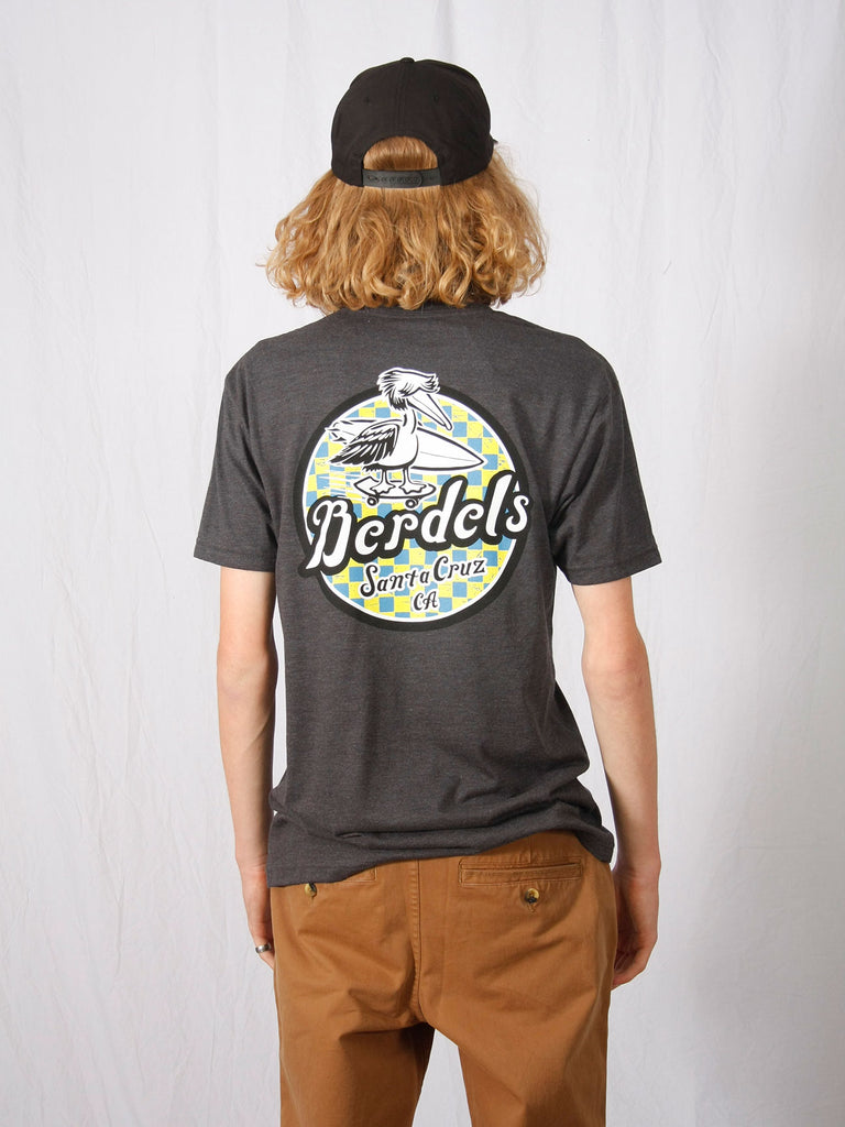 Spicoli Checker Tee Heather Charcoal Grey