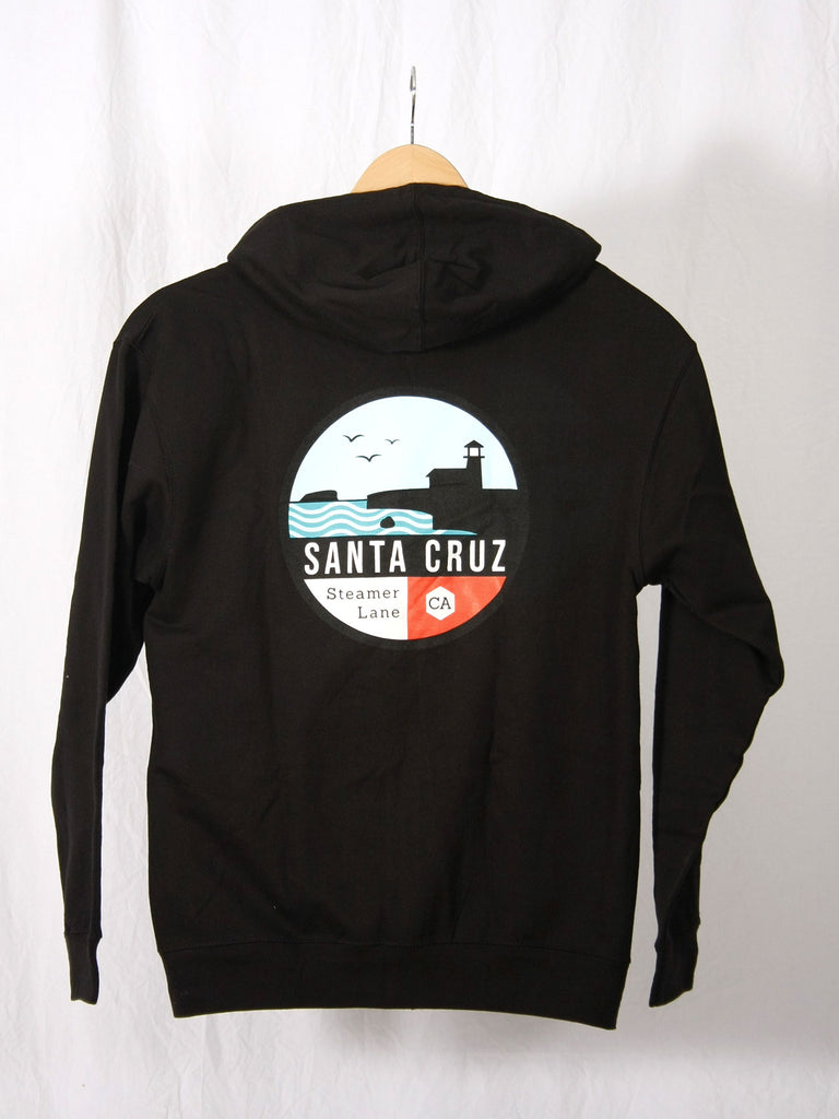 Steamer Lane Zip Hoodie Sweatshirt Black