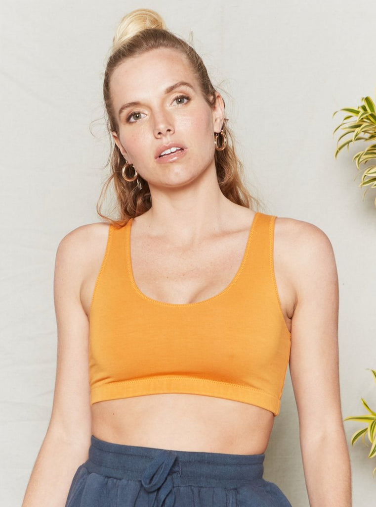 Back Beat Co Organic Cotton Reversible Crop Top Sunset