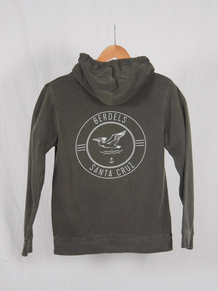 Berdels Surf Club Pigment Washed Hooded Pullover Sweatshirt Black
