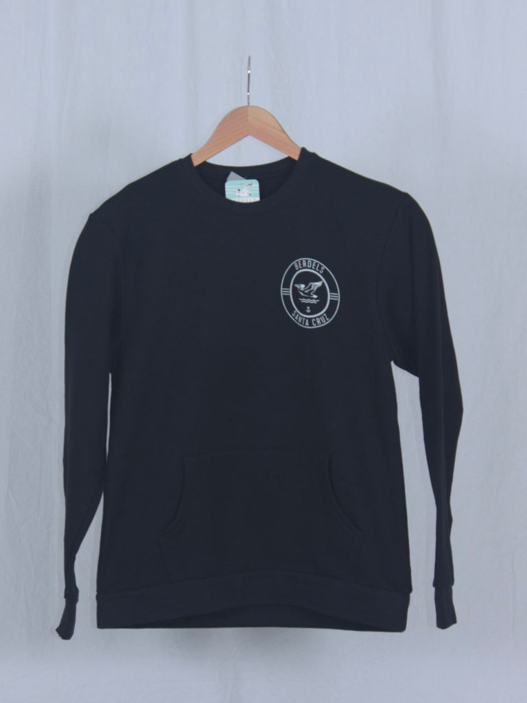 Berdels Surf Club Crewneck Sweatshirt Kangaroo Pocket Black