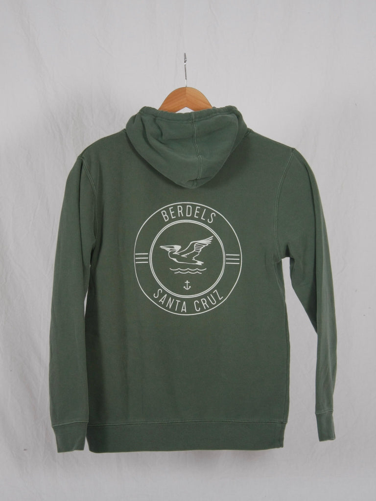 Berdels Surf Club Pigment Washed Hooded Pullover Sweatshirt Green