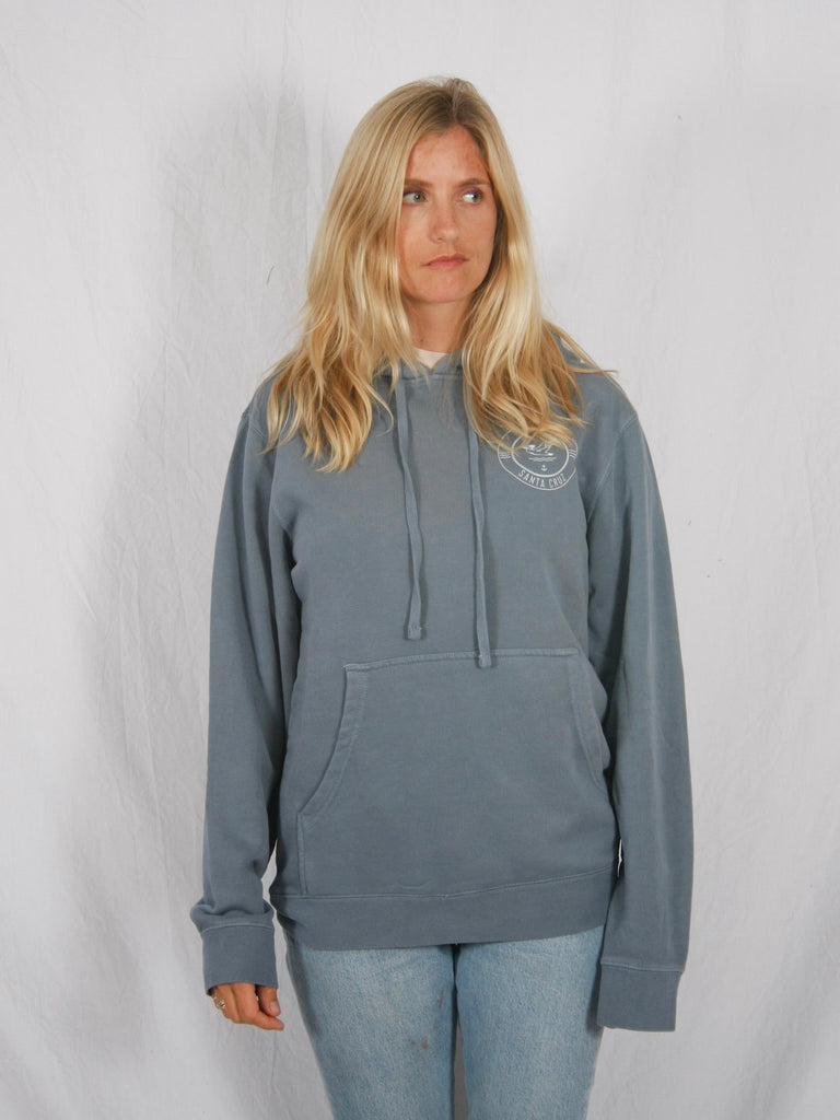 Berdels Surf Club Pigment Washed Hooded Pullover Sweatshirt Light Blue