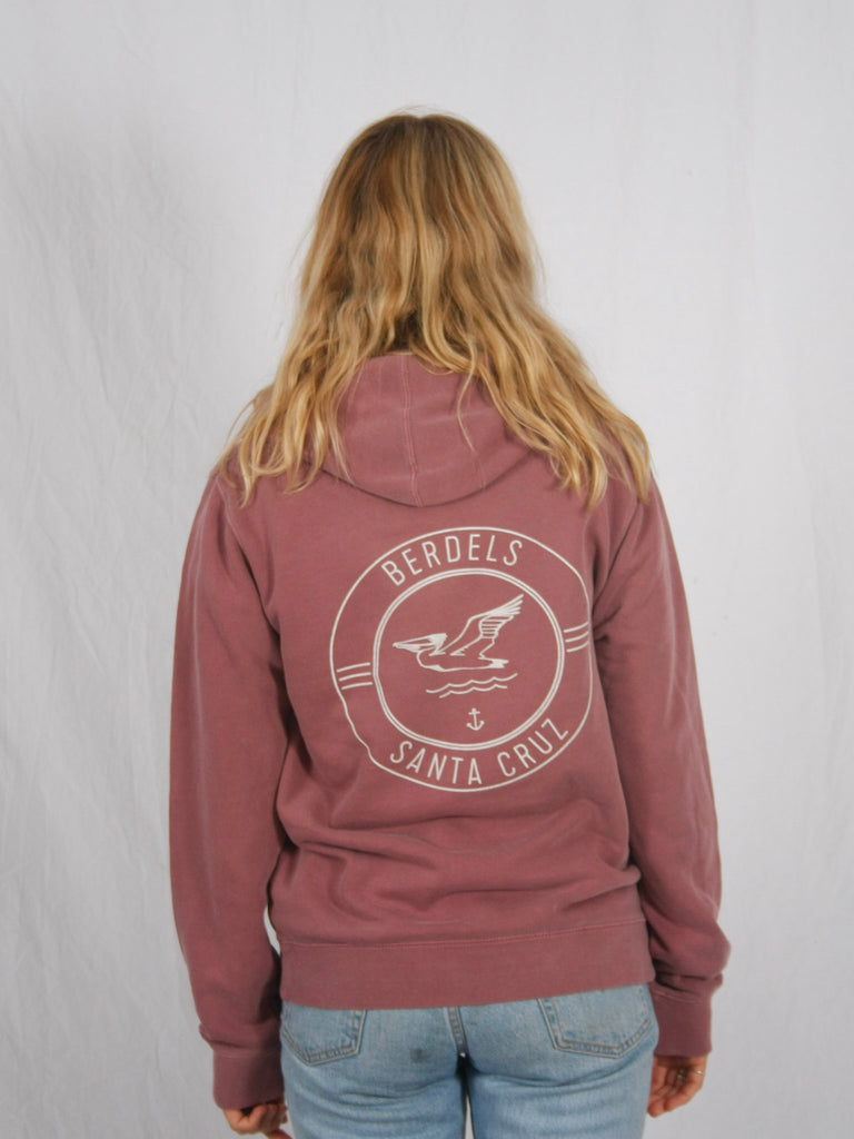 Berdels Surf Club Pigment Washed Hooded Pullover Sweatshirt Maroon