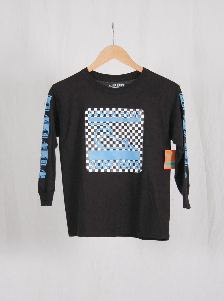 Surf Rats Kids Long Sleeve Tee Black/Blue Checker