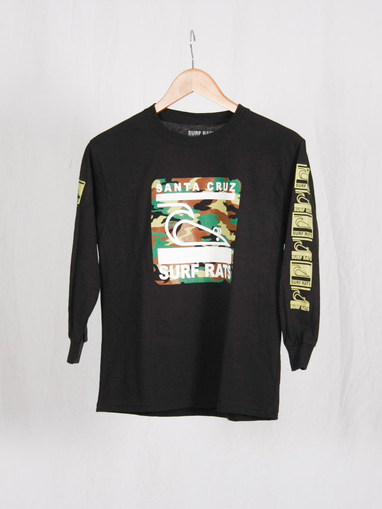 Surf Rats Kids Long Sleeve Tee Camo/Black