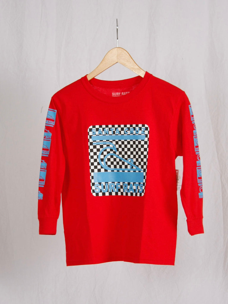 Surf Rats Kids Long Sleeve Tee Red Checker