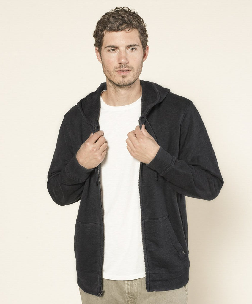 Outerknown Sur Hooded Zip Sweatshirt Pitch Black