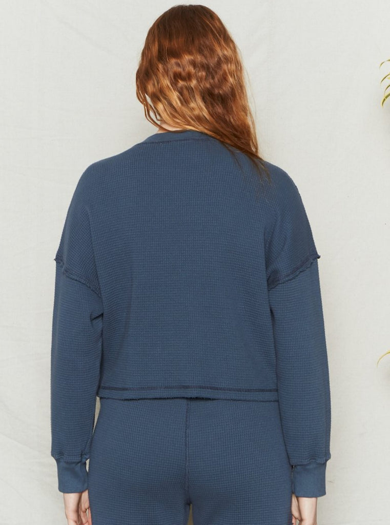 Back Beat Co Organic Cotton Waffle Knit Pullover Fijord Blue