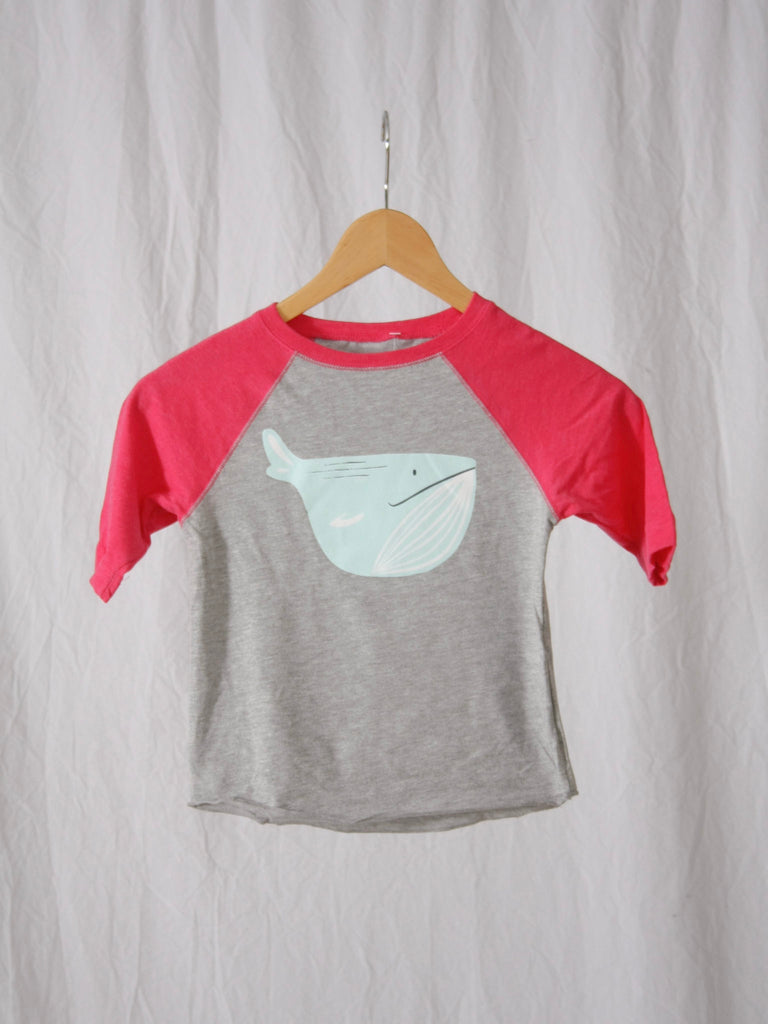 Berdels Whale Toddler Baseball Tee Pink/Heather