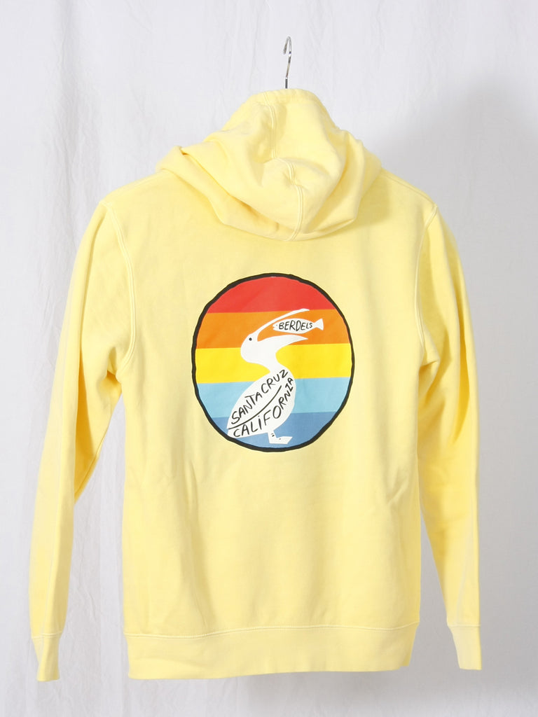 Rainbow Berd Hooded Pullover Sweatshirt Yellow