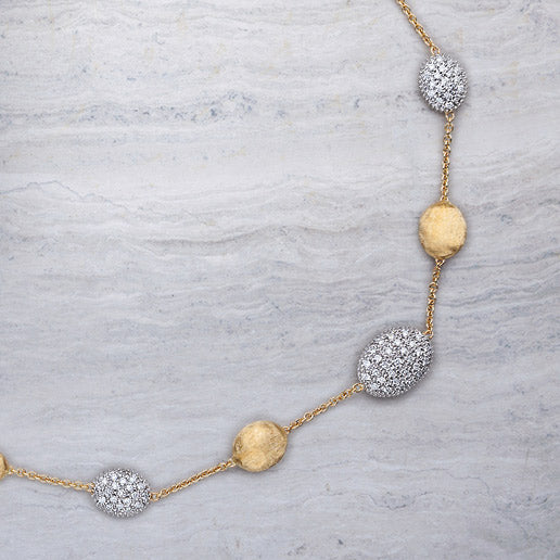 Siviglia Gold Bead & Three Station Diamond Necklace