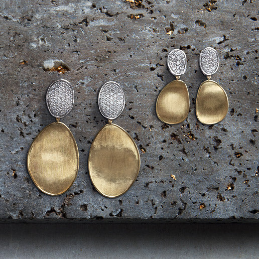 Lunaria Gold & Diamond Pave Double Drop Earrings