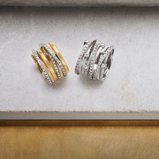 Goa White and Yellow Gold Rings with Diamonds