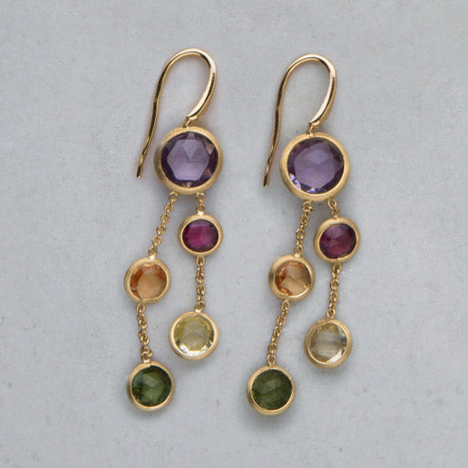 Jaipur Mixed Gemstones Two Strand Earrings