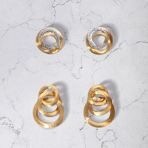 Jaipur Link Gold Knot Earrings and Jaipur Diamond Link Stud Earrings