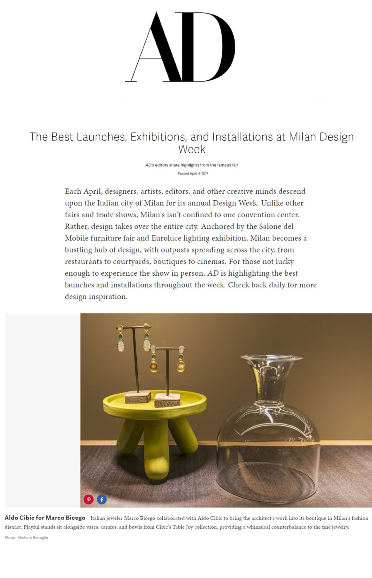 Marco Bicego Unico Earrings Featured with Aldo Cipic on Architecural Digest.com