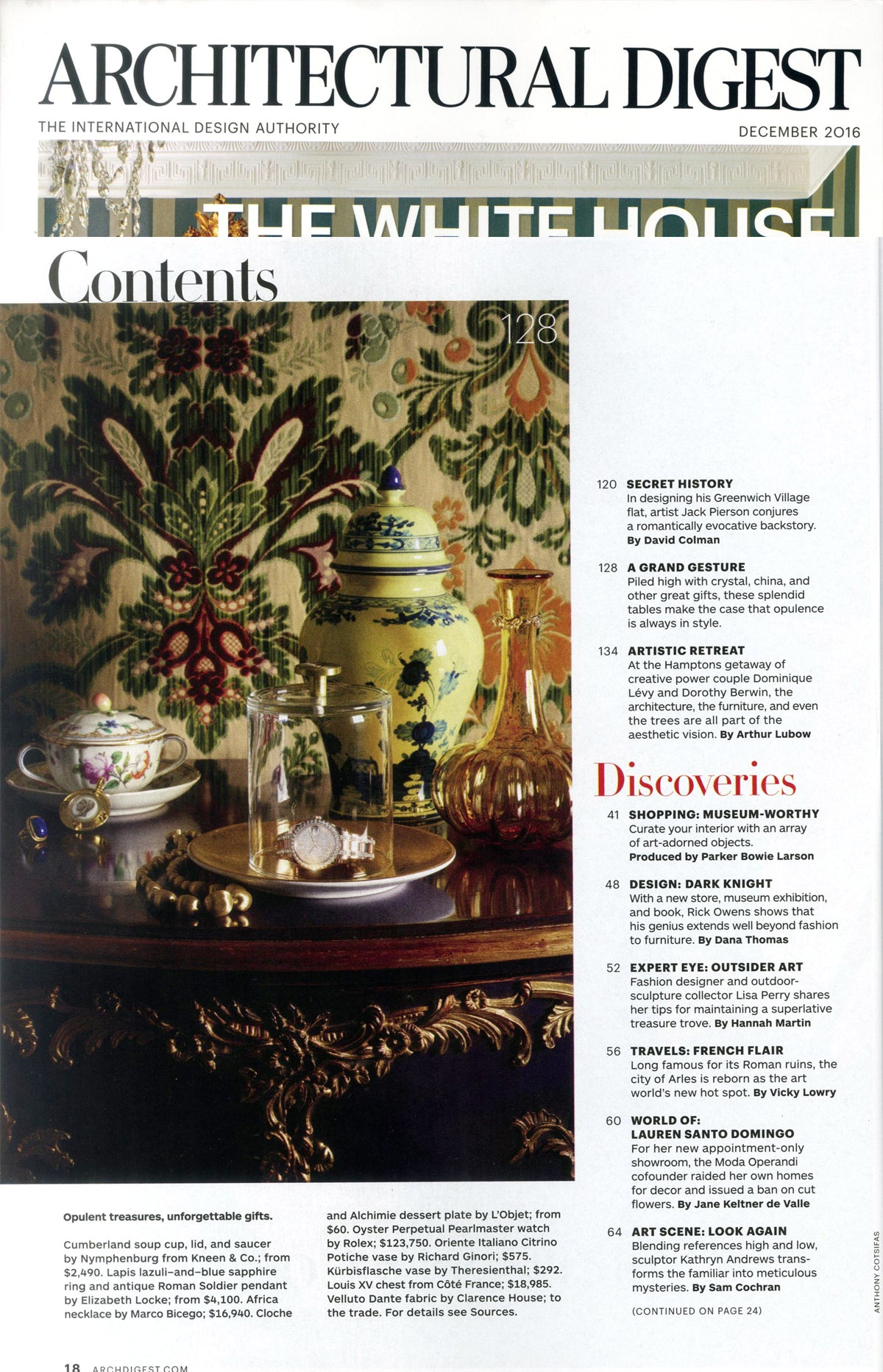 Architectural Digest, Table Of Contents