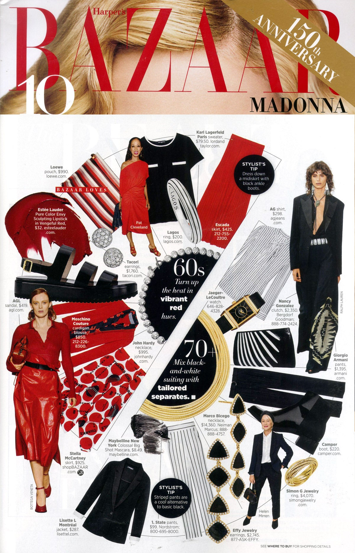 Marco Bicego Cairo Gold Seven Strand Woven Necklace in Harper's Bazaar