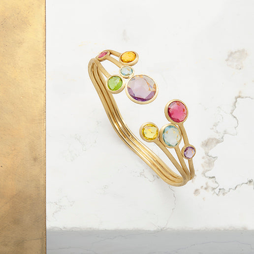 Marco Bicego Jaipur Mixed Gemstone Three Row Bangle