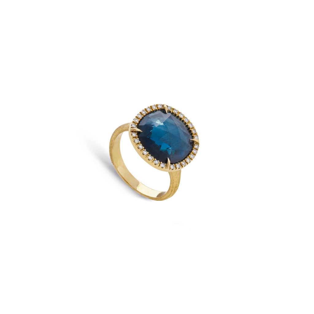 Marco Bicego® Jaipur Color Collection 18K Yellow Gold London Blue Topaz and Diamond Medium Ring