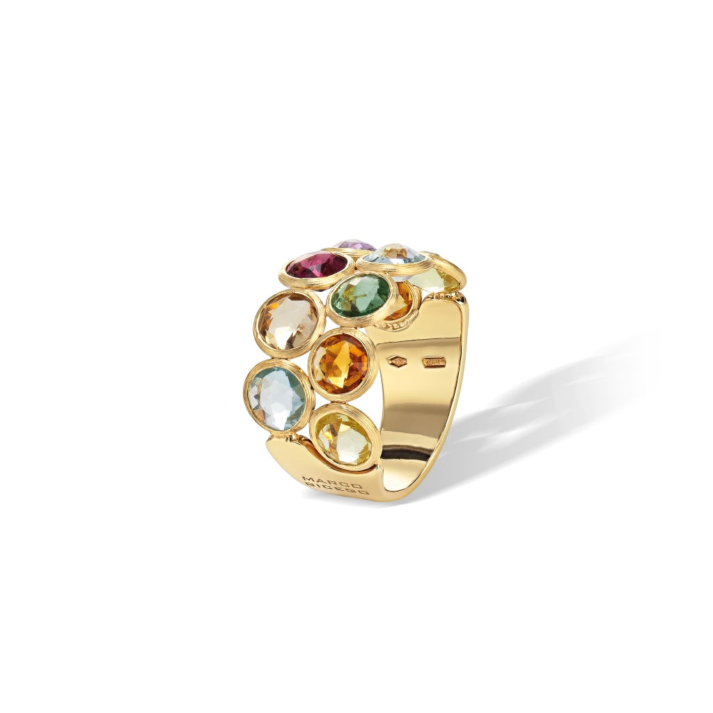 Marco Bicego® Jaipur Color Collection 18K Yellow Gold Mixed Gemstone Two Row Ring