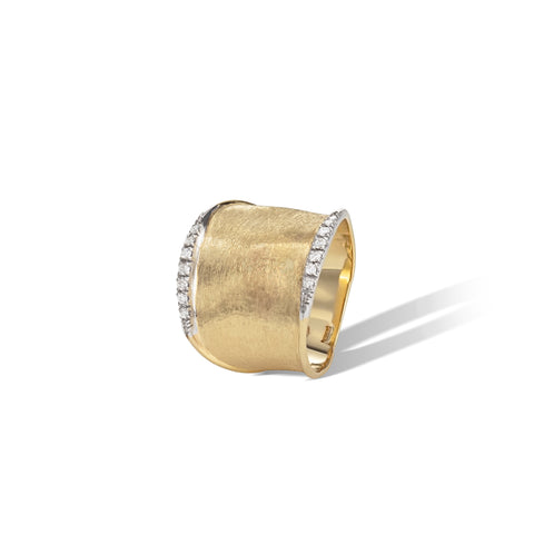 Marco Bicego® Lunaria Collection 18K Yellow Gold and Diamond Medium Ring
