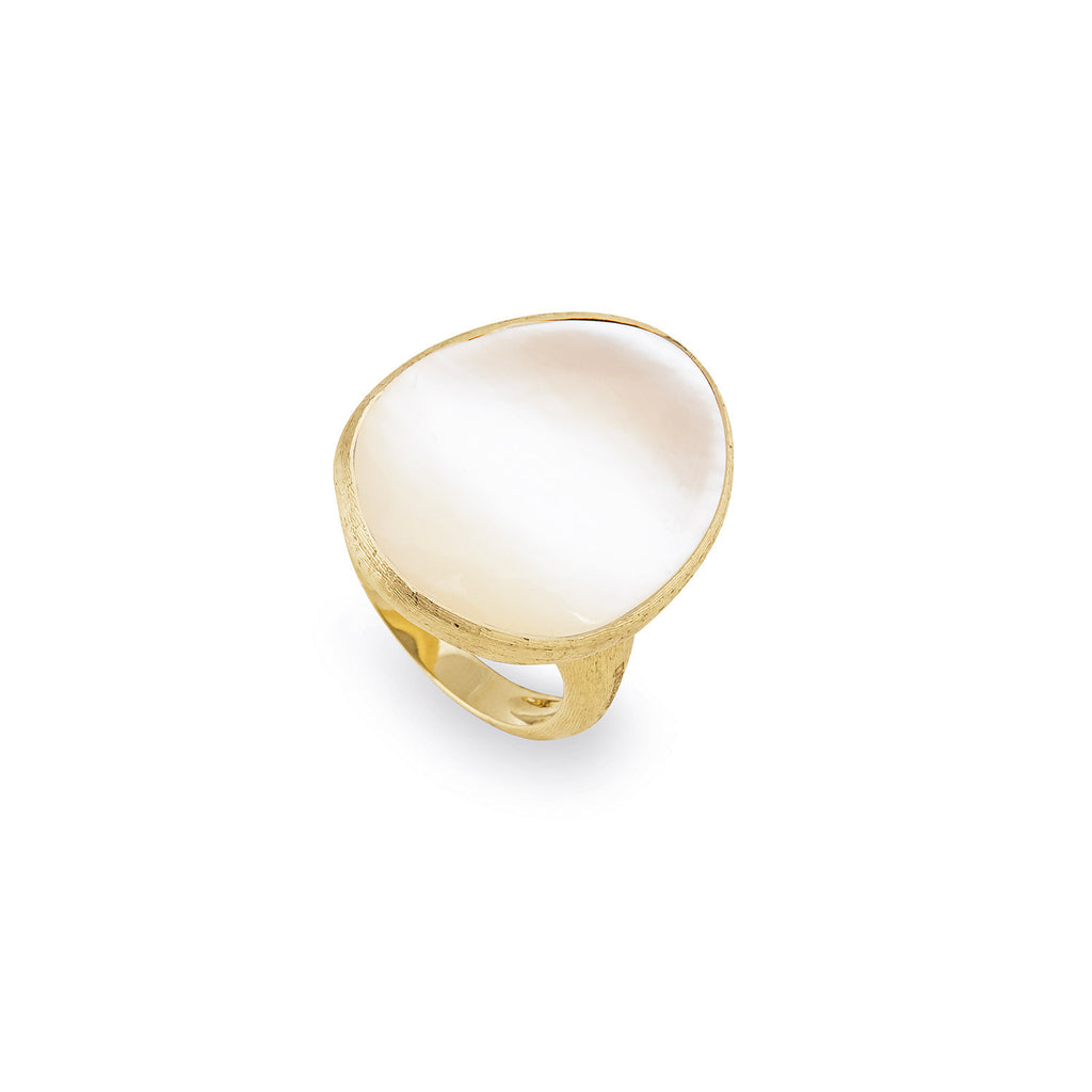 Lunaria Gold & White Mother of Pearl Large Cocktail Ring