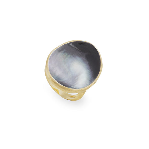 Lunaria Gold & Black Mother of Pearl Large Cocktail Ring