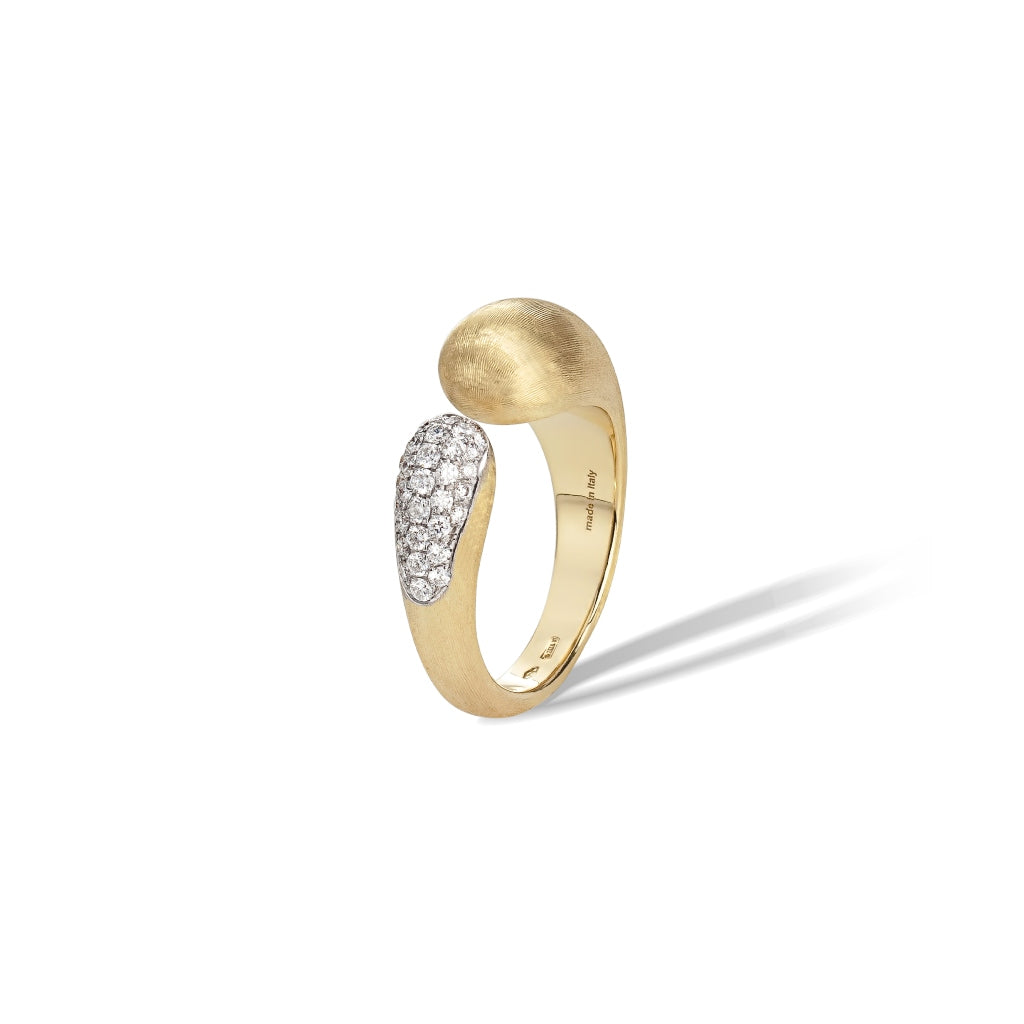 Marco Bicego® Lucia Collection 18K Yellow Gold and Diamond Kissing Ring