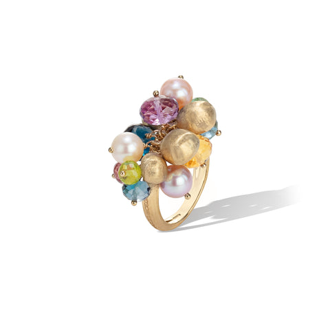 Marco Bicego® Africa Collection 18K Yellow Gold Mixed Gemstone and Pearl Small Cocktail Ring