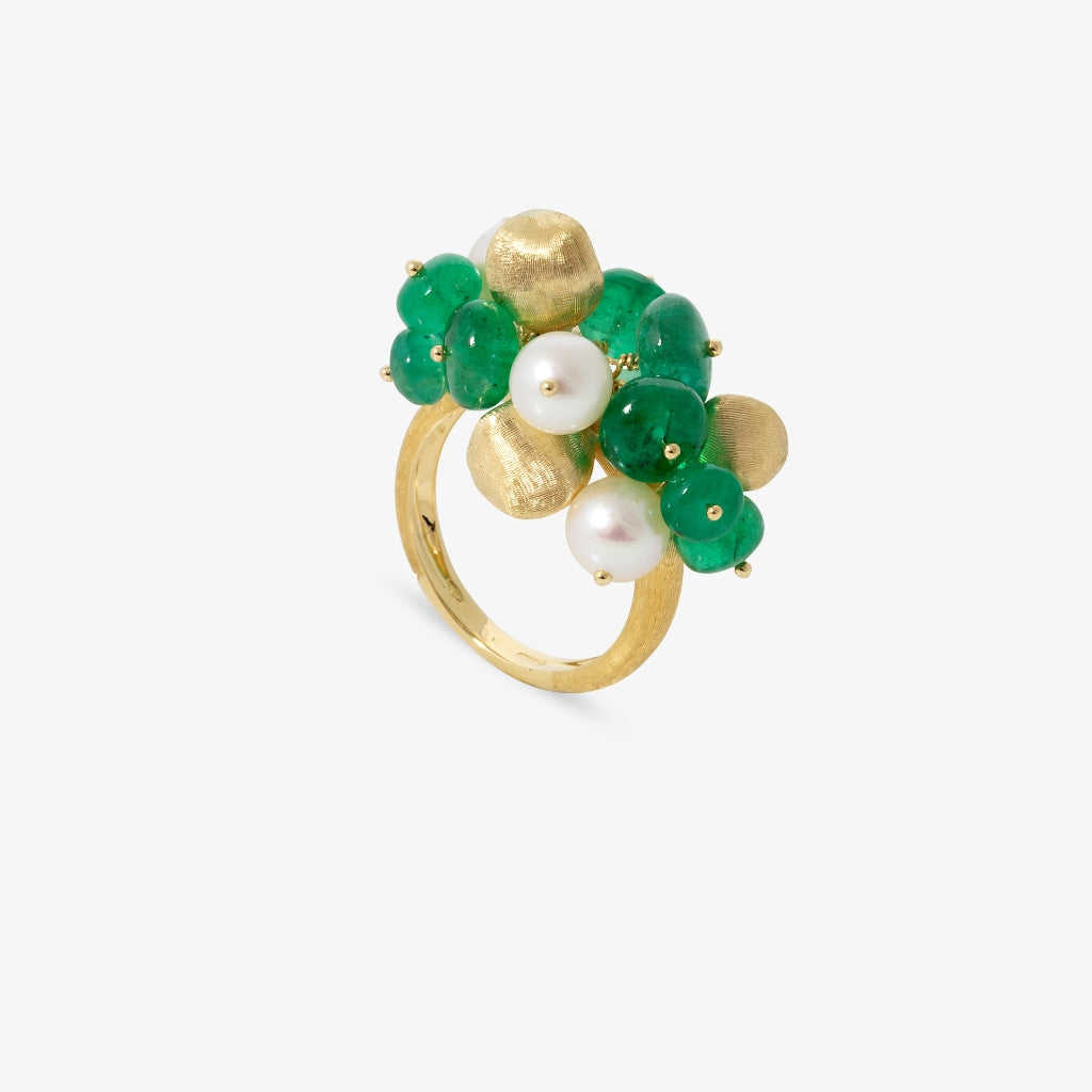 Marco Bicego® Africa Collection 18K Yellow Gold Emerald and Pearl Bauble Ring